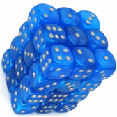 Bright Blue & Silver Velvet 12mm D6 Dice Block